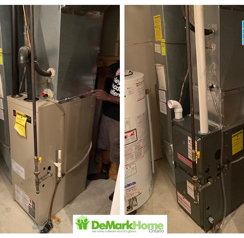 Goodman 96% furnace installed before and after